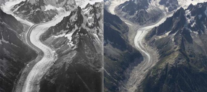 2015 (sign) vs 2019 entrance to the Mer de Glace (ice caves) 50 feet below our hiker in Chamonix